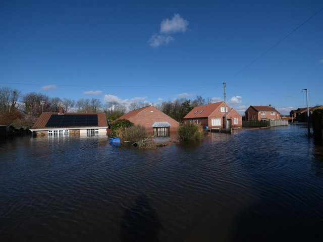 The aftermath of flooding in Snaith, East Yorkshire, in February. Credit: SWNS