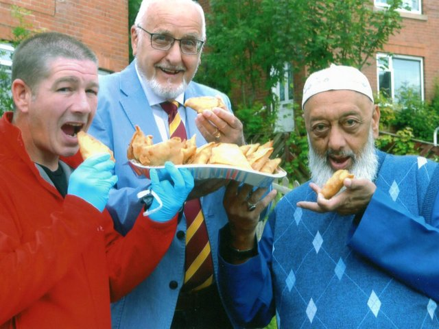 Mosque leader and retired chef Siraj Valli with Jay Micklethwaite of Happy Hour Yorkshire and Peter Charlesworth,President Of Dewsbury Moor Rugby League Club.
