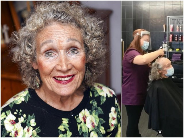 An Ossett pensioner who 'defied death' in a car crash almost 40 years ago has shaved her head to raise money for charity.