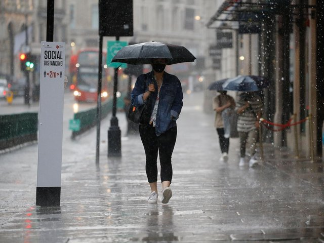 An amber weather warning for rain has been issued by the Met Office (Getty Images)