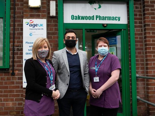Diane Chandler, Nabeel Anwar and Paula Woodgate, preparing to give covid vaccines, at Oakwood Pharmacy, Birstall