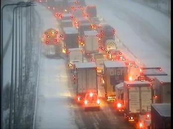 Stuck traffic on the M62 (Highways England)