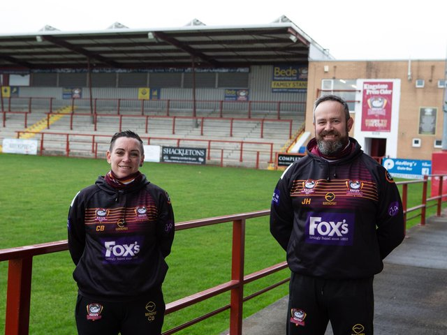 Clare Black and Jon Umpleby, of Batley Sporting Foundation, who are launching new support groups to help men with their mental health