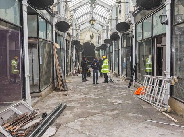 Work inside the Dewsbury Arcade