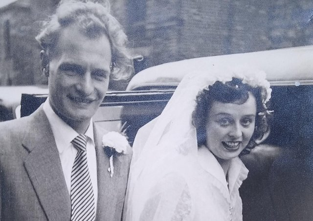 Happy couple: George Stringer and his bride Audrey Fothergill on their wedding day in May 1954. Audrey worked at the shop for the last 10 years before it closed in 1994.