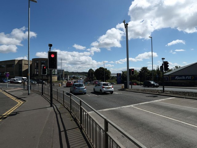 Junction of the A644 and A638 in Dewsbury