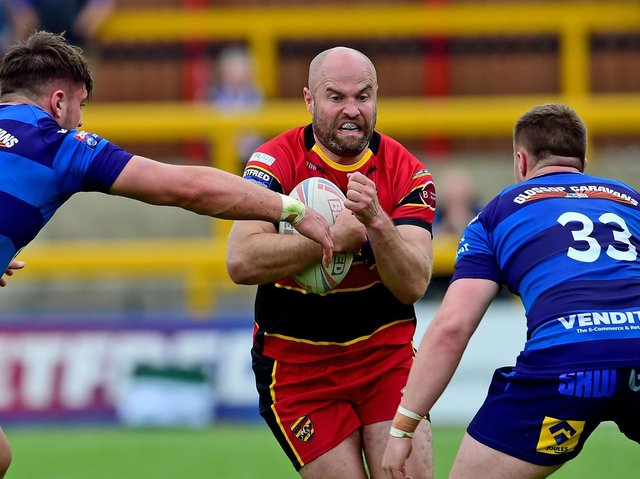 DROP-GOAL: Half-back Liam Finn slotted over a one pointer with six minutes remaining as Dewsbury Rams defeated Whitehaven in their opening game of the 2021 Championship  campaign. Picture: Paul Butterfield.