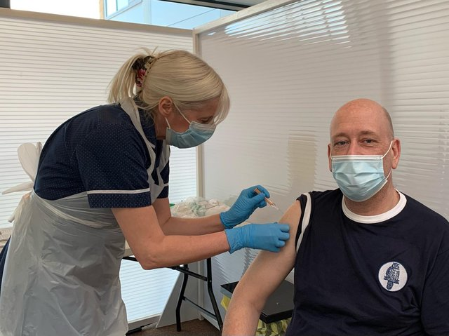 VACCINE: Mark Eastwood MP receiving his first dose of the Oxford AstraZeneca vaccine at Dewsbury Health Centre