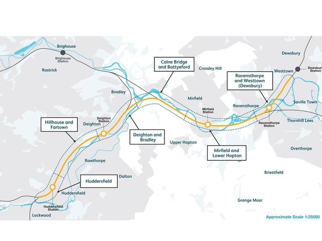 A map showing the improvements planned on the rail line between Huddersfield and Westtown (Dewsbury)