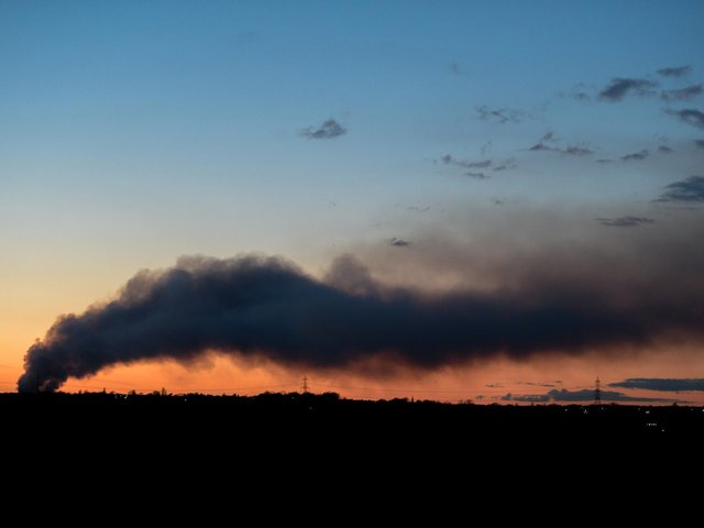 The huge plume of smoke could be seen for miles