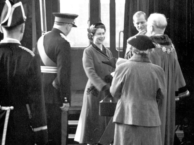 The Queen and the Duke of Edinburgh arriving at Dewsbury Central Railway Station on October 28, 1954.