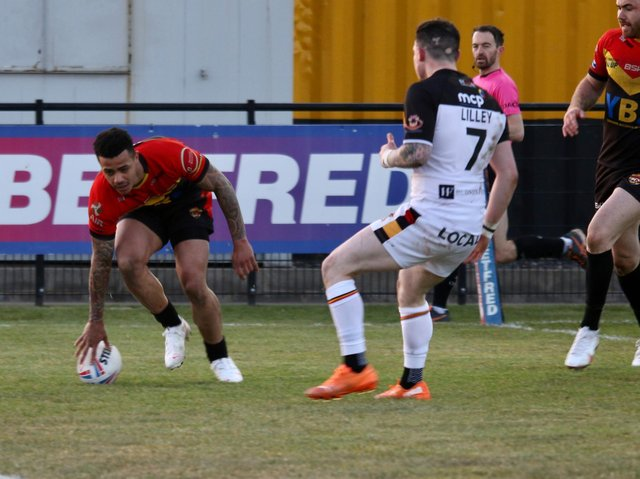 TRY TIME: Andy Gabriel touches down for Dewsbury Rams during their defeat against Bradford Bulls on Sunday - their first loss of the league season. Picture: Thomas Fynn