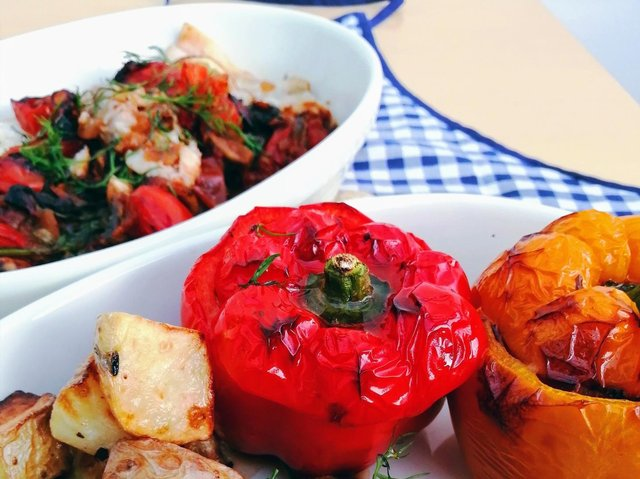 Stuffed peppers and Mediterranean-style cod