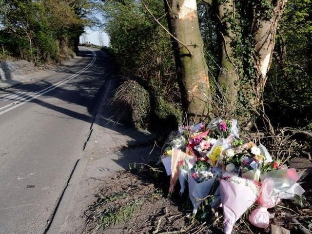 Flowers left in tribute to Danielle Broadhead at the scene of the fatal crash on the A637 Barnsley Road at Flockton last year