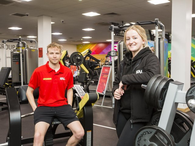 Lifeguard Josh Truman and fitness instructor Becca Morris at the re-opened gym at Dewsbury Sports Centre, which has seen the return of customers in recent weeks