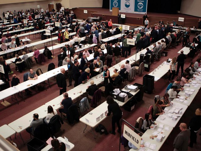 The scene at Cathedral House in Huddersfield for the local election count in 2019