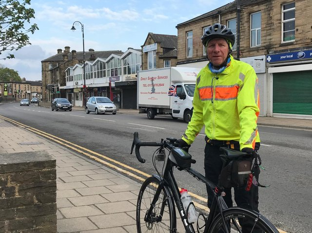 Coun Martyn Bolt at the start of his bike ride from Mirfield to Huddersfield to highlight the need for road repairs