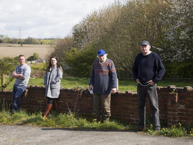 Pictured from the left are Shane Shaw, Sarah Gomersall, Rodney Lyles and Steve Crossley, who are objecting to the plan near their homes in Hanging Heaton