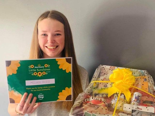 Megan Rodd, 14, winner of Morrisons in Heckmondwike's 'Little Sunshine' award