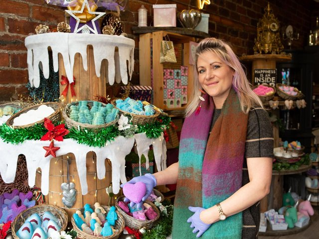 Former painter and decorator Emma Noble, who quit her job to set up her own business making bath bombs. The Bombz Hydrotherapy, Market Place, Birstall
