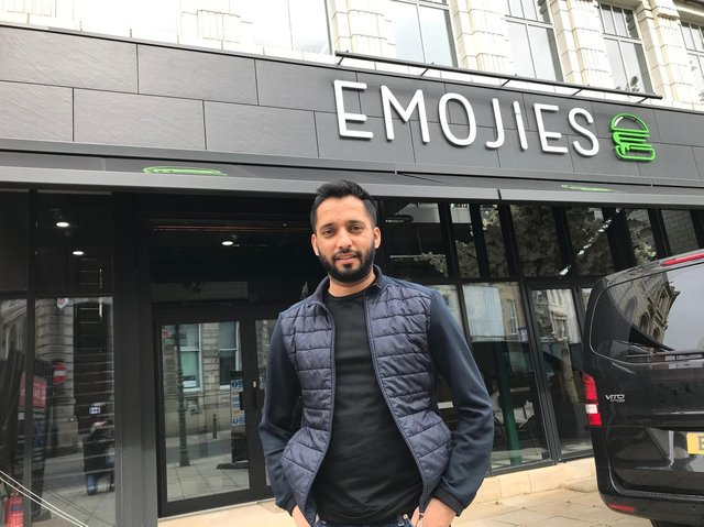 Owner Imran Ahmed at the new Emojies burger bar in Dewsbury town centre