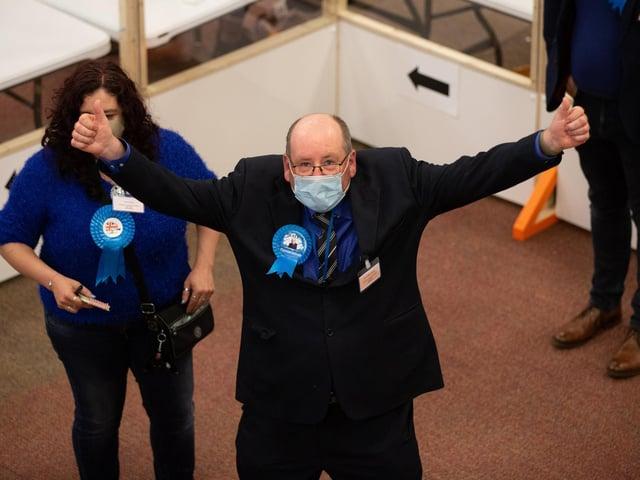 Bernard McGuin (Conservative) was elected in Almondbury
