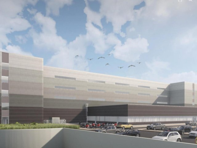 An artist's impression of the proposed huge new storage and distribution warehouse near Scholes