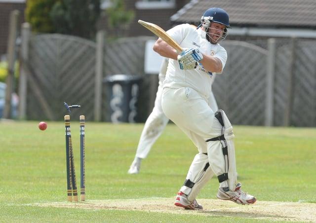 Birstall batsman Eric Austin is bowled by East Bierley's Dan Abbott. Picture: Steve Riding