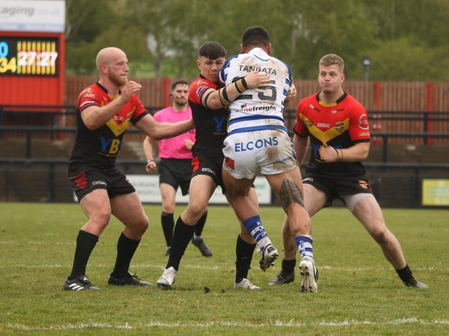 DEFEAT: Action from Dewsbury Rams' loss to Halifax Panthers on Sunday afternoon. Picture: Thomas Fynn.