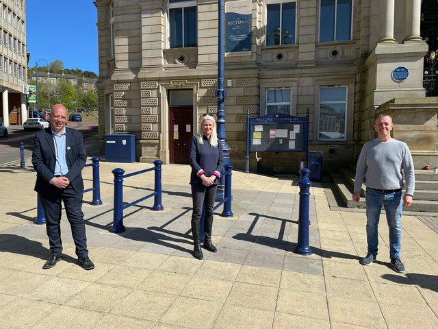 CAMPAIGN: Mark Eastwood with Conservative Party chairwoman Amanda Milling, and community campaigner Keith Mallinson