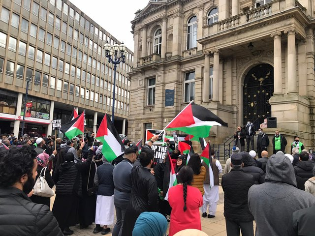 Crowds at the peaceful protest outside Dewsbury Town Hall on Tuesday evening