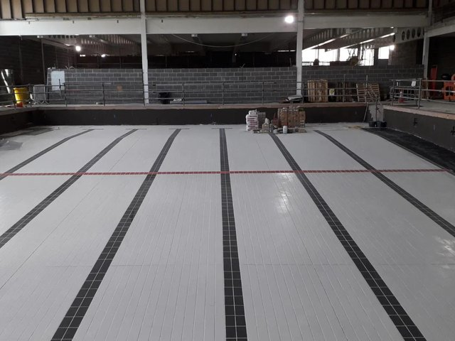 Tiling work has been completed on the pool at the new £15m Spen Valley Leisure Centre