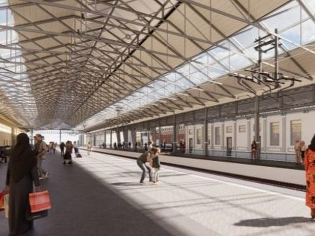An artist's impression of part of the proposed revamp of Huddersfield Rail Station