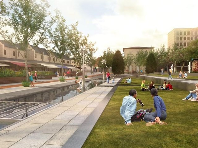 An artist's impression of the new Dewsbury Town Park, which will be built on Longcauseway