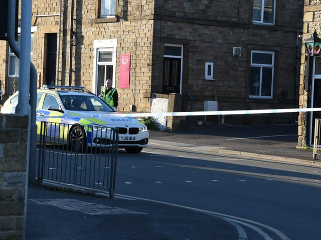 Police at the scene of the collision at the Butchers Arms traffic lights, Staincliffe, on Wednesday (May 19). Photo by Mike Clark
