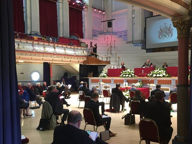 Councillors sit socially distanced at the first in-person meeting of Kirklees Council in 2021 where opposition groups voted to start the process to introduce a committee system