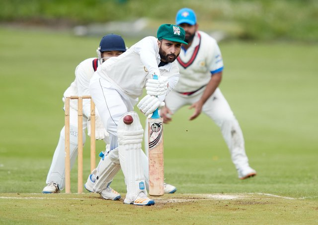Ali Rafiq, on his way to making an unbeaten 80 on his debut for Scholes against Wakefield St Michael's. Picture: John Clifton