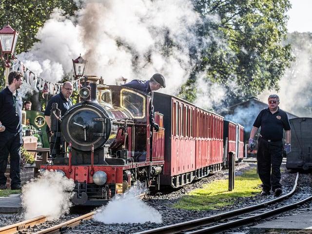 Staff and volunteers preparing the steam engines on the Kirklees Light Railway
