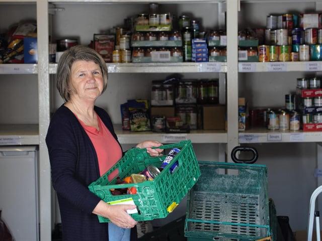 Volunteer Joan Oddy, at Cleckheaton Food Bank