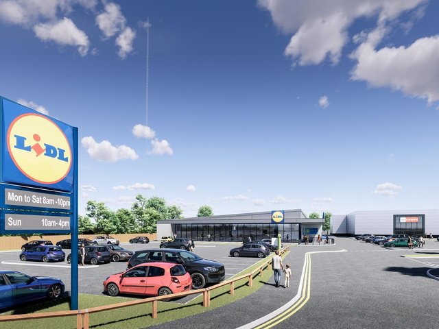 An artist's impression of the proposed new Lidl supermarket and Home Bargains store close to the Junction 27 Retail Park in Birstall