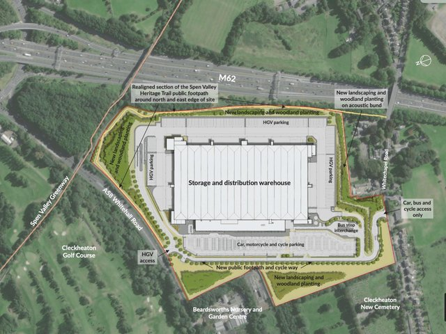 An aerial view of the site of the proposed giant warehouse between Scholes and Cleckheaton