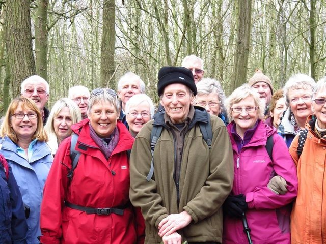 Les Stakes walking with Dewsbury Ramblers on his 90th birthday
