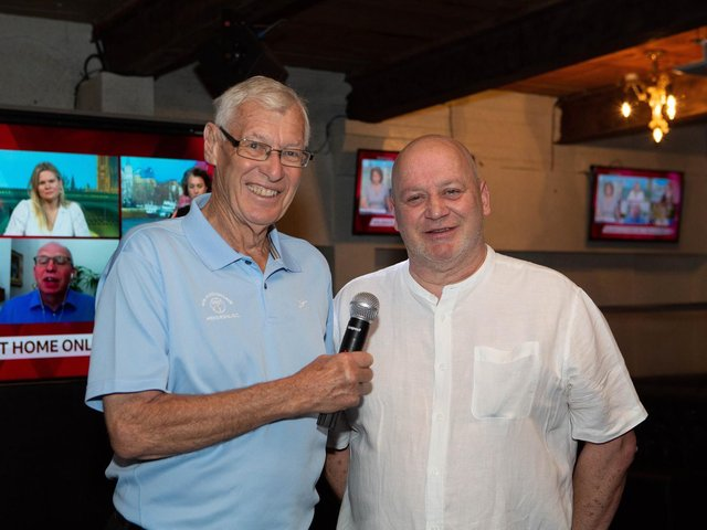 TV legend John Helm, left, with Origin bar director Nick Westwell. John will be commentating live in the bar on England's matches at the Euro 2020 Championship