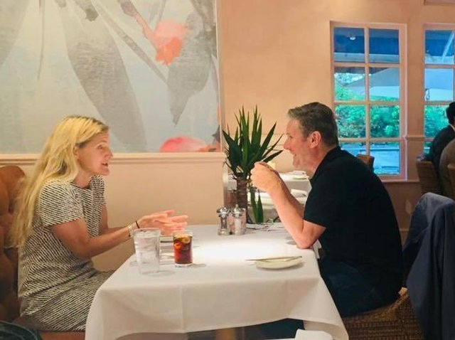 Kim Leadbeater having dinner with Labour Party leader Sir Keir Starmer at the Healds Hall Hotel in Liversedge