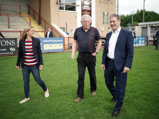 Labour party leader Sir Keir Starmer and Batley and Spen by-election candidate Kim Leadbeater tour Batley Bulldogs' stadium with club chairman Kevin Nicholas. Photo: Getty Images