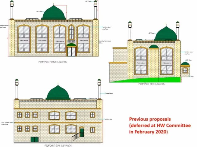 An artist's impression of what the extended mosque on Ravenshouse Road in Dewsbury could look like