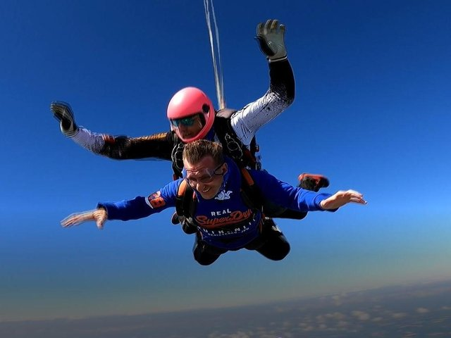 Home manager Paul Rowson took to the sky to raise money for his residents at Ashworth Grange in Dewsbury