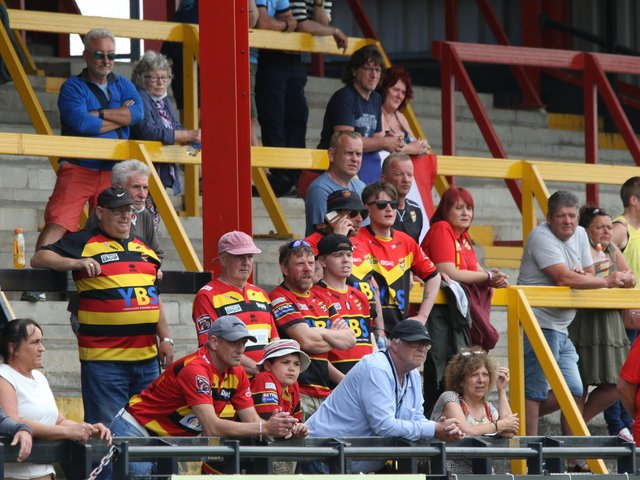 WATCHING ON: Supporters in the stands at the Tetley's Stadium. Picture: Thomas Fynn.