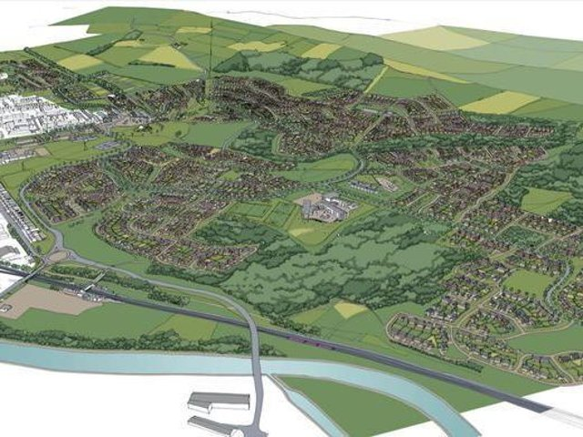 An artist's impression of how the huge Dewsbury Riverside development might look when it is completed
