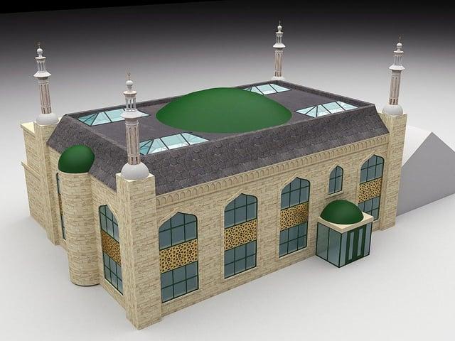 An artist's impression of the extended Mohaddis E Azam Education Centre and Masjid E Madani on Ravenshouse Road at Dewsbury Moor